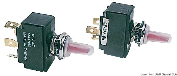 Toggle switch, lighted ON/OFF/ON, 14.303.36