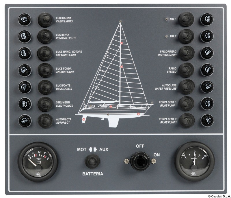 14 switches panel, sail boat, 14.808.01