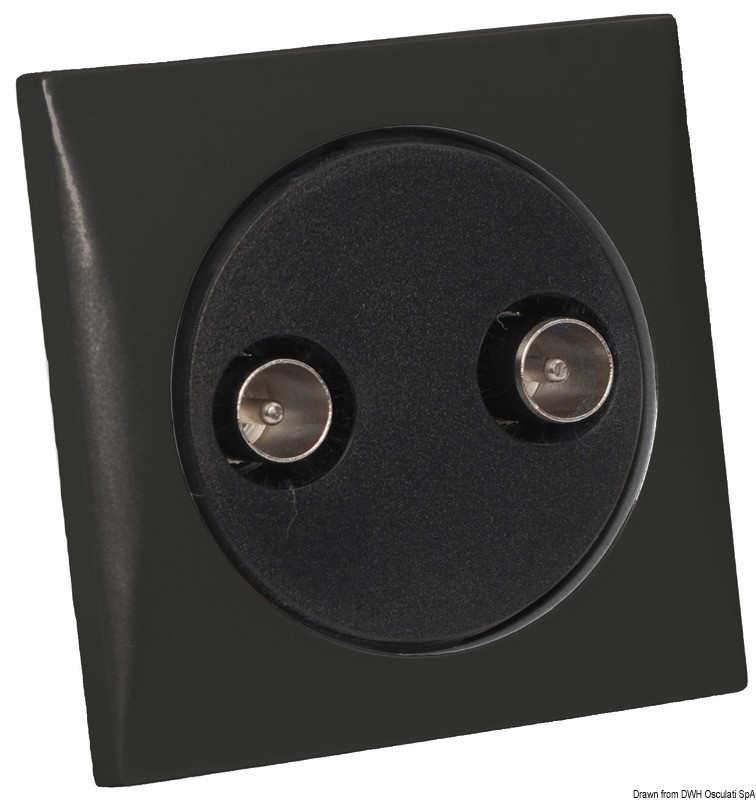 Double TV-socket, black, 14.490.11