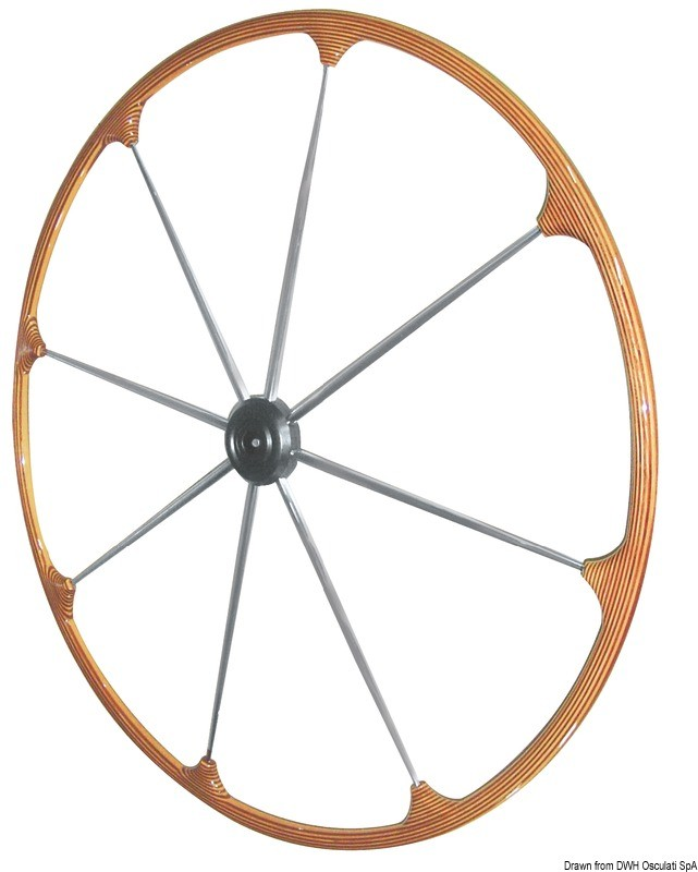 SS steering wheel w/teak external rim 400 mm, 45.167.01