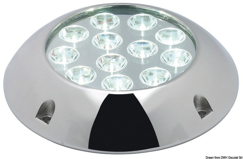 Underwater light w/12x3W white LEDs with screws, 13.298.01