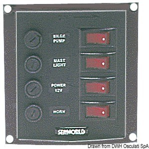 Vertical control panel w. 4 switches, 14.103.34