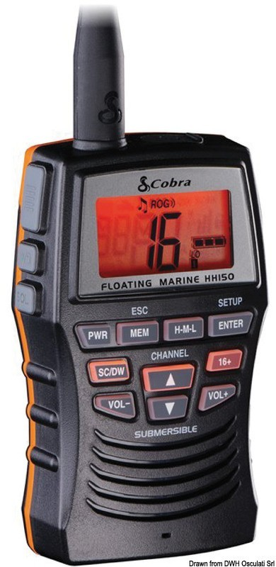 Портативная VHF-радиостанция COBRA MARINE MR HH150FLTE, 29.661.02